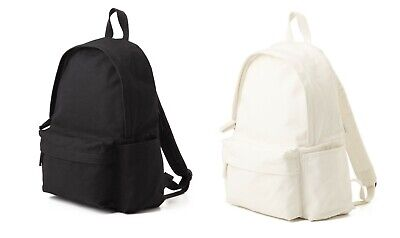 $63.96 • Buy MUJI 100% UNBLEACHED ORGANIC COTTON WATER RESISTANT BACKPACK White Black Bag