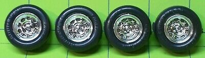 PARTS - 1/24 Mid 90's 9 HOLE CHROME RIM W/ RAISED LETTER GOODYEAR RACING TIRES • 6.50$