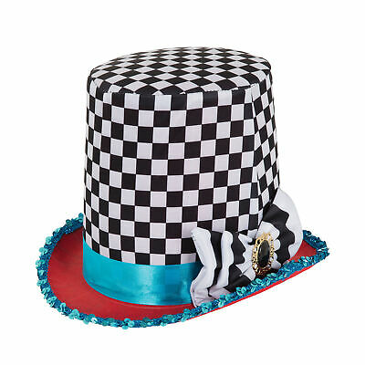 Adults Mad Hatter Chequered Black White Stovepipe Top Hat Alice Tea Party Fairyt • 4.99£