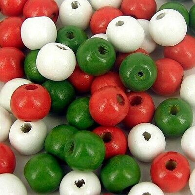 £1.99 • Buy Wooden Beads, Christmas, Red Green And White Mixed ,Round Craft , 10mm X 100