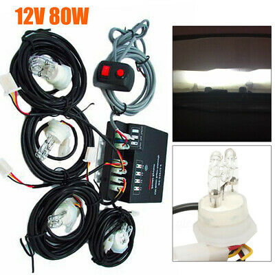 $57.04 • Buy 80W 4 LED HID Bulbs White Hide-a-way Emergency Warning Strobe Light System Kit