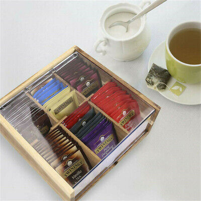 2019 Wooden Tea Box 6 Compartment Wood Hinged Lid Kitchen Bag Container Storage • 12.98£