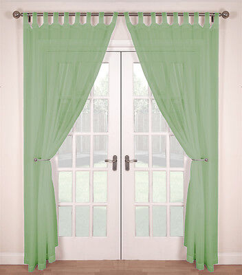 BUY ONE GET ONE FREE Pair Woven Voile Tab Top Net Curtain Panels  Soft Green • 11.50£