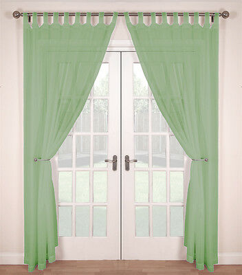 BUY ONE GET ONE FREE Pair Woven Voile Tab Top Net Curtain Panels  Soft Green • 8.99£