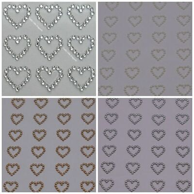 24 X 13mm Open Outline Hearts Self Adhesive Rhinestone Diamante GEMS Stickers • 1.99£