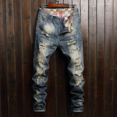 $28.78 • Buy Men Stretch Ripped Skinny Jeans Distressed Frayed Slim Fit Biker Pants Trousers