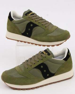 Saucony Jazz Original Vintage Trainers In Olive & Black - Retro • 49.95£