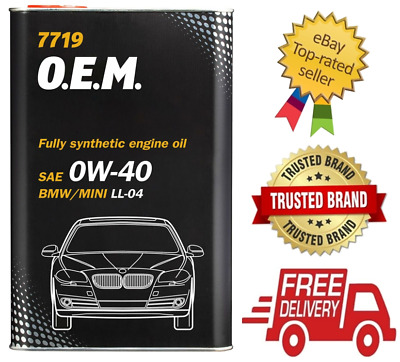 4 Litre 0W40 7719 Engine Car Motor Oil BMW Mini Fully Synthetic ACEA C3 LL-04 GM • 22.49£