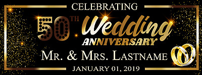 Happy 50th Wedding Anniversary Banner Black And Gold Party Decoration 18  X 4' • 23.87£
