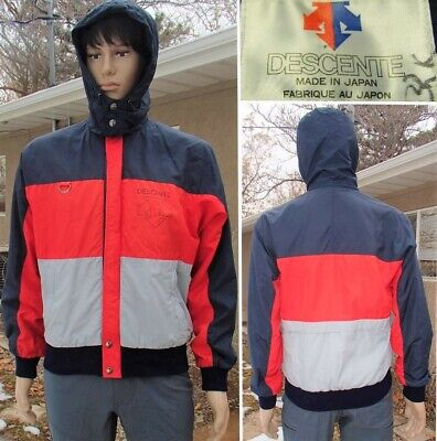 $49.40 • Buy Vintage 80's DESCENTE Track Jacket MADE IN JAPAN Windbreaker Hooded Ski Mens S