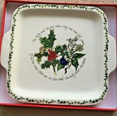 Portmeirion The Holly And The Ivy Square Handled Cake Pan Ceramic New In Box • 24.99$