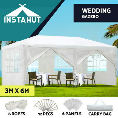 AU119.90 • Buy Instahut Gazebo Outdoor Marquee Wedding Gazebos Party Tent Camping White 3x6