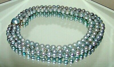 $1380 • Buy 14K Gold Mabe Pearl Clasp Triple Strand  Blue Gray Akoya Pearl Necklace