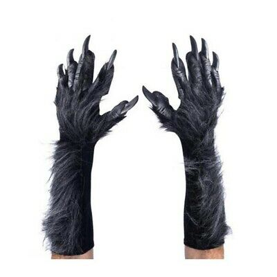 Deluxe Gray WereWolf Gloves Hands Claws Adult Halloween Costume Paws • 39.39£