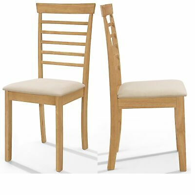 £95.99 • Buy 2 X Solid Wood Dining Chairs | Wooden Kitchen Table Seat Pair In Oak Finish