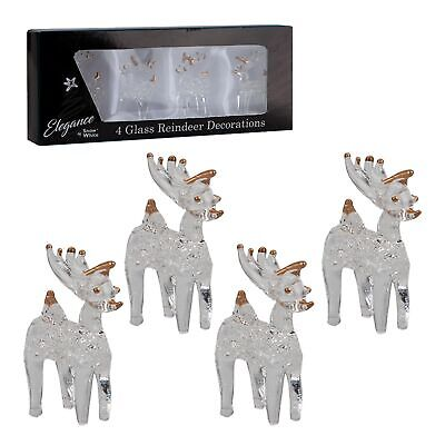 £5.49 • Buy Christmas Pack Of 4 Glass Ornament Decorations - 4cm Reindeers