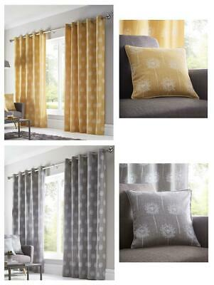 Lined Curtains Ochre Yellow Or Grey Pair Of Eyelet Ring Top Ready To Hang • 24.29£