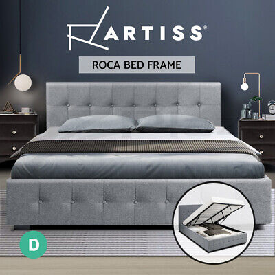 AU259.95 • Buy Artiss Bed Frame Double Size Gas Lift Base With Storage Mattress Fabric