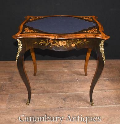 French Empire Games Table - Antique Card Tables Floral Marquetry • 1,250£