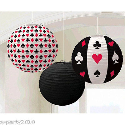 $9.29 • Buy CASINO NIGHT PAPER LANTERNS (3) ~ Birthday Party Supplies Decorations Poker Red