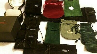 Designer Jewellery Pouches Real Suede. Mix Colours. Tie Strings. Job Lot 16 Pcs • 75£