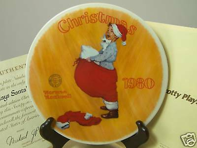 $ CDN10.65 • Buy Norman Rockwell Scotty Plays Santa Christmas Collector Plate 1980 Boy As Santa