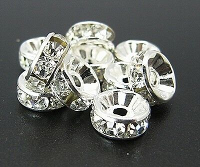 20 X RHINESTONE RONDELLE SPACER BEADS, GRADE 'A' QUALITY, CLEAR - CHOOSE SIZES • 2£