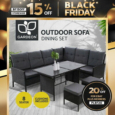 AU599 • Buy Outdoor Sofa Set Patio Furniture Lounge Setting Dining Chair Table Wicker Black