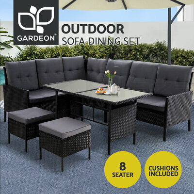 AU829.95 • Buy Outdoor Sofa Set Patio Furniture Lounge Setting Dining Chair Table Wicker Black