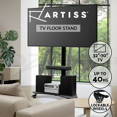 AU124.95 • Buy Artiss Mobile TV Stand With Mount Swivel Bracket Trolley Wheels 32 To 70 Inch