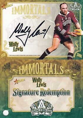 AU1700 • Buy 2008 NRL Centenary Of Rugby League Immortal Signature Card IMSC4 Wally Lewis 092