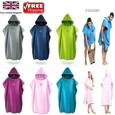 Microfiber Surf Beach Wetsuit Changing Towel Bath Robe Poncho With Hood Fit All  • 15.99£