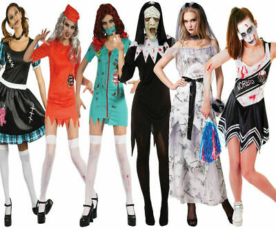 Ladies Zombie Halloween Fancy Dress Costume Clearance Prisoner Doll Bride • 14.49£