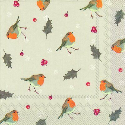 LITTLE RED ROBINS Linen Christmas 33cm Sq Paper Lunch Napkins 20 In Pack • 4.79£