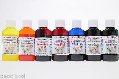 Classikool [100ml Neon Gel Food Colouring] Sugarpaste Icing Dye Any 1, 3, 5 Or 7 • 5.99£