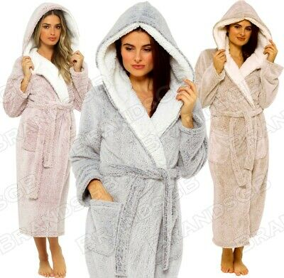 £29.98 • Buy Ladies Luxury Dressing Gown Shimmer Fleece Soft & Cosy Hooded Robe **new**
