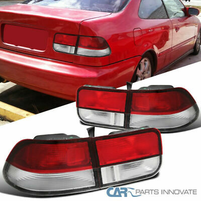 $86.95 • Buy For 96-00 Honda Civic 2Dr Coupe Red/Clear Tail Lights Brake Stop Rear Lamps Pair