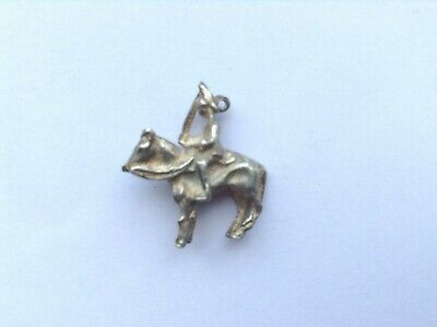 Vintage Silver Charm - Soldier On Horse Back Carrying A Sword - With FREE POST • 4.95£