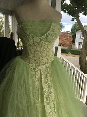 £116.99 • Buy Vintage Lime Green 50's 1950S Prom Ball Gown Wedding Lace Dress