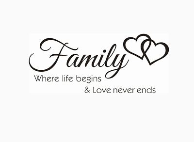 Family Where Life Begins & Love Never Ends Wall Quotes Wall Stickers UK 32e • 4.30£
