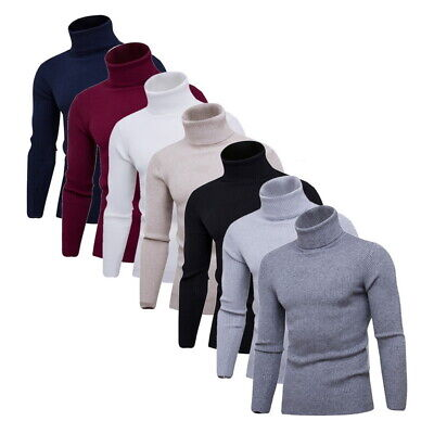Mens Winter Turtle Neck Knitted Thermal Sweater Turtleneck Pullover Jumper Tops • 11.69£