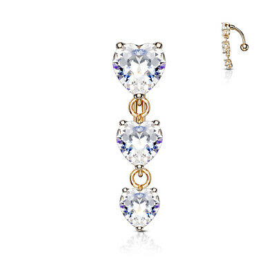 £5 • Buy  REVERSE DROP TOP DOWN BELLY BAR WITH 3 CLEAR CRYSTAL Cz HEARTS PLATED ROSE GOLD