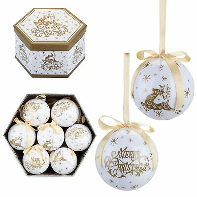 Christmas Tree Decoration - Box Of 14 Baubles - 75mm - Gold Stag Merry Christmas • 17.89£
