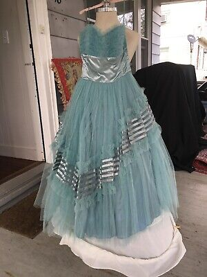 £159.53 • Buy Vintage 1950S Teal Prom Ball Gown Wedding  Dress Small Size