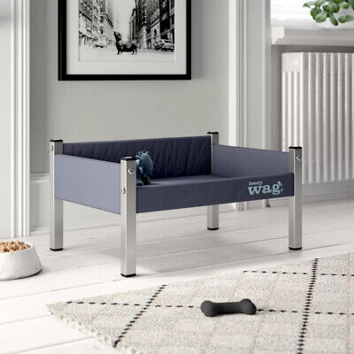 Henry Wag Grey Elevated Dog Bed Raised Strong Sofa Pet Bed • 49.50£