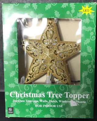 $20 • Buy Christmas LED Lighted 8  Star Tree Topper Indoor Use Gold Glitter Holiday Decor