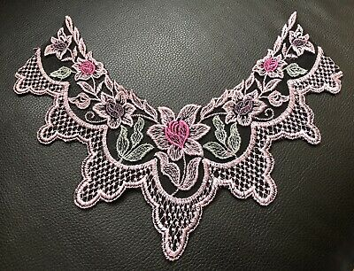 Embroidered Dusky Pink Floral Lace Neck Collar Trim Clothes Sewing Patch • 2.75£