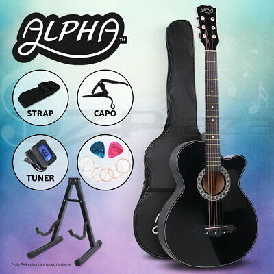 "AU92.90 • Buy Alpha 38"" Inch Wooden Acoustic Guitar Classical Folk Full Size Black Capo Tuner"