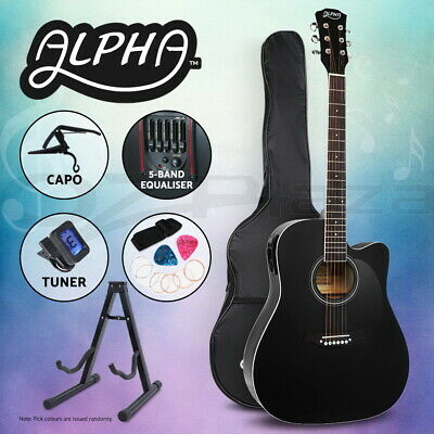 """AU98.95 • Buy Alpha 41"""" Inch Electric Acoustic Guitar Wooden Classical Full Size EQ Capo Black"""