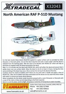 X32043 - NEW Xtradecal 1:32 North-American P-51D Mustang Mk.IV Collection • 10.99£